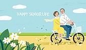 실버라이프, 실버라이프 (주제), 활력, 활력 (컨셉), 즐거움 (컨셉), 건강한생활 (주제), 오팔세대, 노인커플 (커플), 자전거, 꽃길