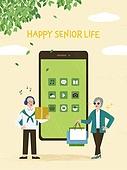 실버라이프, 실버라이프 (주제), 활력, 활력 (컨셉), 즐거움 (컨셉), 건강한생활 (주제), 오팔세대, 노인커플 (커플), 스마트폰, SNS (기술), 쇼핑 (상업활동)