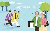 실버라이프, 실버라이프 (주제), 활력, 활력 (컨셉), 즐거움 (컨셉), 건강한생활 (주제), 오팔세대, 노인커플 (커플), 쇼핑 (상업활동)