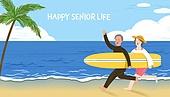 실버라이프, 실버라이프 (주제), 활력, 활력 (컨셉), 즐거움 (컨셉), 건강한생활 (주제), 오팔세대, 부부, 노인커플 (커플), 바다, 서핑
