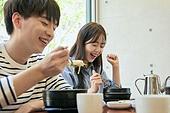 한국인, 식사, 남성, 여성, 미식 (식사), 만족, 미소, 밝은표정