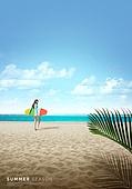 바다, 해변, 풍경 (컨셉), 시원함 (컨셉), 카피스페이스 (콤퍼지션), 여름, 서핑보드 (수중스포츠장비)