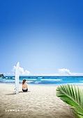 바다, 해변, 풍경 (컨셉), 시원함 (컨셉), 카피스페이스 (콤퍼지션), 여름, 여성 (성별), 서핑보드 (수중스포츠장비)