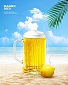 여름, 음료, 시원함 (컨셉), 맥주, 포스터, 바다
