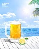 여름, 음료, 시원함 (컨셉), 맥주, 포스터, 바다, 맥주잔