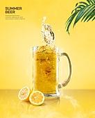 여름, 음료, 시원함 (컨셉), 맥주, 포스터, 야자잎, 맥주잔