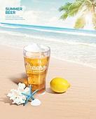 여름, 음료, 시원함 (컨셉), 맥주, 포스터, 바다, 불가사리, 레몬, 산호
