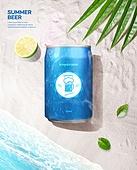 여름, 음료, 시원함 (컨셉), 맥주, 포스터, 바다, 캔