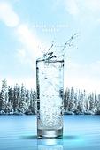 물 (자연현상), 깨끗함, 깨끗함 (좋은상태), 투명 (비침), 시원함 (컨셉), 포스터, 유리잔 (그릇), 소다 (차가운음료)