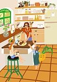 별장 (건설물), 전원생활 (컨셉), 집 (주거건물), 도시저택 (집), 주방 (건설물), 어린이 (나이), 가족