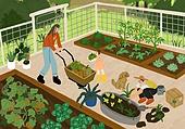 별장 (건설물), 전원생활 (컨셉), 집 (주거건물), 도시저택 (집), 도시텃밭 (정원), 경작 (식물속성), 가족
