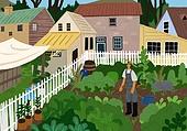 별장 (건설물), 전원생활 (컨셉), 집 (주거건물), 도시저택 (집), 도시텃밭 (정원), 경작 (식물속성)