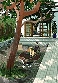 별장 (건설물), 전원생활 (컨셉), 집 (주거건물), 도시저택 (집), 정원, 나무, 독서