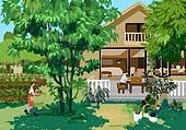 별장 (건설물), 전원생활 (컨셉), 집 (주거건물), 도시저택 (집), 나무