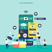 쇼핑 (상업활동), 휴대폰 (전화기), 스마트폰, 라이브커머스, 라이브방송 (방송), 모바일쇼핑
