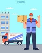 사람, 직업, 택배배달부 (배달부), 배달 (일), 트럭 (육상교통수단), 화물운송
