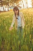숲, 햇빛 (빛효과), 땅거미 (여명), 보리밭, 생명, 편안함 (컨셉), 감성, 사람손 (주요신체부분), 자연