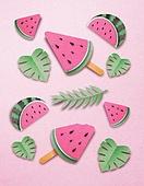 종이 (재료), 페이퍼아트, 여름, 디저트, 아이스크림, 과일, 수박, 잎