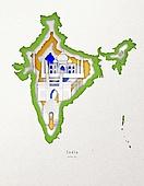 종이 (재료), 페이퍼아트, 지도, 랜드마크, 세계지, 인도 (인도아대륙)