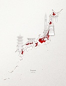 종이 (재료), 페이퍼아트, 지도, 랜드마크, 세계지, 일본 (동아시아)