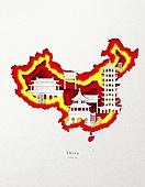 종이 (재료), 페이퍼아트, 지도, 랜드마크, 세계지, 중국 (동아시아)