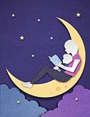 종이 (재료), 페이퍼아트, 독서, 밤 (시간대), 하늘, 옆모습, 달 (하늘), 책, 아기 (나이)