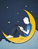 종이 (재료), 페이퍼아트, 독서, 밤 (시간대), 하늘, 옆모습, 달 (하늘), 책