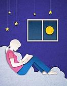 종이 (재료), 페이퍼아트, 독서, 밤 (시간대), 하늘, 옆모습, 달 (하늘)