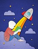 종이 (재료), 페이퍼아트, 독서, 밤 (시간대), 하늘, 옆모습, 로켓 (우주선)