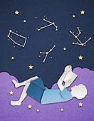 종이 (재료), 페이퍼아트, 독서, 밤 (시간대), 하늘, 옆모습, 별자리