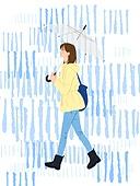 비 (물형태), 여름, 장마, 라이프스타일, 우산 (액세서리), 청년 (성인), 장화 (부츠)
