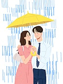 비 (물형태), 여름, 장마, 라이프스타일, 우산 (액세서리), 청년 (성인), 커플, 데이트