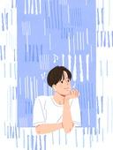비 (물형태), 여름, 장마, 라이프스타일, 창문, 한명 (사람의수), 턱괴기, 남성 (성별)