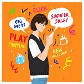 사람, 캘리그래피 (문자), 손글씨, 라이프스타일, 말풍선, 연례행사 (사건), 청년 (성인), 쇼핑 (상업활동), 모바일쇼핑, 여름
