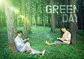 녹색 (색), 산림욕, 그린데이, 8월, 라이프스타일, 휴식, 한국인, 산림 (산림지역), 숲, 커플, 독서
