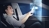 첨단기술 (기술), 4차산업혁명 (산업혁명), 블록체인, 라이프스타일, 남성 (성별), 홀로그램, 무인자동차 (자동차), 디지털화면 (문자), 터치스크린