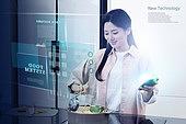 첨단기술 (기술), 4차산업혁명 (산업혁명), 블록체인, 라이프스타일, 여성 (성별), 요리 (음식상태), 가정주방 (주방), 디지털화면
