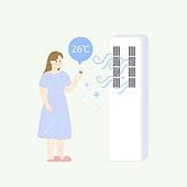일러스트, 냉방병, 에어컨, 온열질환 (질병), 질병, 여름, 전기, 건강관리 (주제)