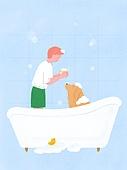 라이프스타일, 반려동물, 반려동물 (길든동물), 애완견 (개), 강아지, 욕조