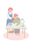 수험생 (학생), 수험생, 학생, 공부, 대학수학능력시험 (시험), 책상, 엄마