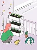 라이프스타일, 화분, 원예 (레저활동), 식물, 휴식 (정지활동), 취미, 반려식물, 베란다