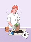 일러스트기법 (이미지), 라이프스타일, 화분, 원예 (레저활동), 식물, 휴식 (정지활동), 취미, 반려식물, 분갈이