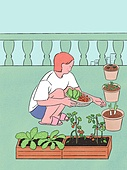 라이프스타일, 화분, 원예 (레저활동), 식물, 휴식 (정지활동), 취미, 반려식물, 베란다, 수확