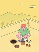 라이프스타일, 화분, 원예 (레저활동), 식물, 휴식 (정지활동), 취미, 반려식물, 지붕 (건물특징)