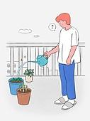 라이프스타일, 화분, 원예 (레저활동), 식물, 휴식 (정지활동), 취미, 반려식물, 베란다, 물뿌리개