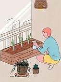 라이프스타일, 화분, 원예 (레저활동), 식물, 휴식 (정지활동), 취미, 반려식물, 베란다, 파 (채소), 분무기