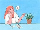 라이프스타일, 화분, 원예 (레저활동), 식물, 휴식 (정지활동), 취미, 반려식물, 허브