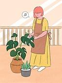 라이프스타일, 화분, 원예 (레저활동), 식물, 휴식 (정지활동), 취미, 반려식물, 베란다, 치즈나무 (열대관목)