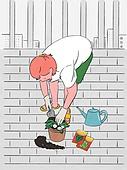 라이프스타일, 화분, 원예 (레저활동), 식물, 휴식 (정지활동), 취미, 반려식물, 베란다, 분갈이, 씨 (식물속성), 물뿌리개