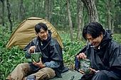 남성, 텐트, 여행, 산림, 캠핑 (아웃도어), 전투식량, 간편식 (음식), 미소